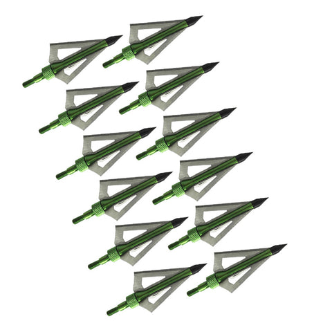 12pcs  outdoor 100grain Bow and Crossbow arrow broadhead Green Hunting Broadheads customize Aluminum arrow  Free shipping