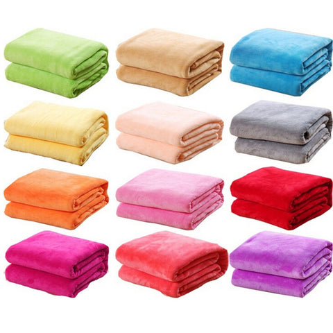 1PCS Bed Blanket Fleece Blankets For Bed Throw Blanket Machine Washable Home Textile Solid random Color 50cm * 70cm