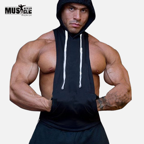 Mens  Bodybuilding Stringer Hoodies Tank Tops Hoody Fitness Sweatshirts Pullover Polyester Sportwear Muscle Clothing