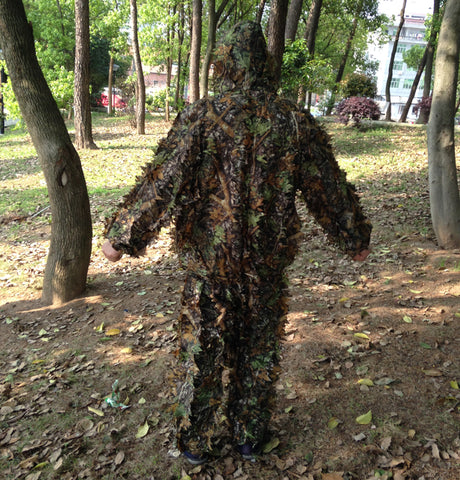 2017 New 3D maple leaf Bionic Ghillie Suits Yowie sniper birdwatch airsoft Camouflage Clothing jacket and pants Hunting clothes