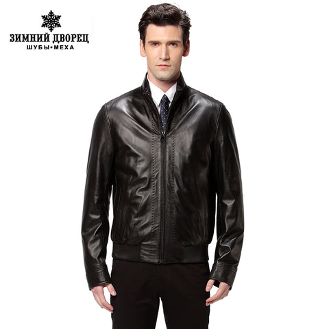 New Hot leather jacket,Genuine Leather,Two color,Sheepskin,Mandarin Collar,motorcycle man coat,Leather jacket men,biker jacket