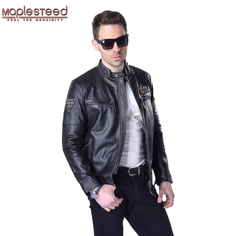 MAPLESTEED Brand Motorcycle Jacket Men Genuine Leather Jacket Men's Thick 100% Cowhide Biker Coat Male Leather Coat Plus 5XL 013