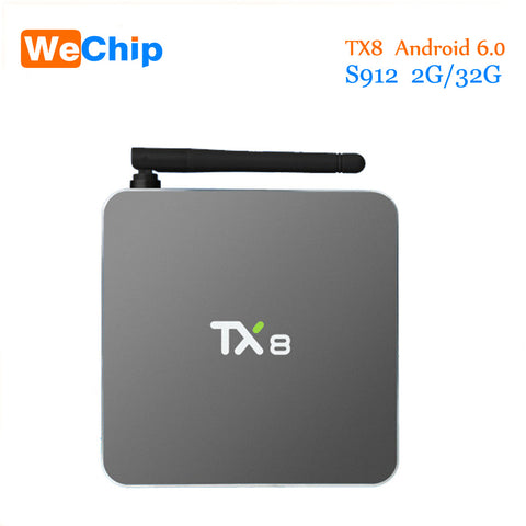 2016 TX8 TV Box Android 6.0 2G 32G Amlogic S912 Octa core Android 6.0 Set top box HDMI H.265 WIFI Media Player Smart tv box
