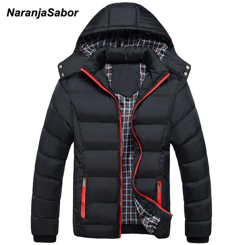 NaranjaSabor 2017 Winter Men's Thick Coats Hooded Parkas Mens Jackets Warm Breathable Coat Male Overcoat Mens Brand Clothing 5XL