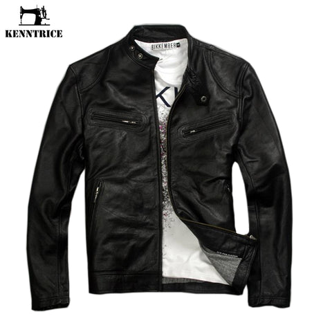 Kenntrice Genuine Leather Jacket Men Coats Genuine Sheepskin Brand Black Male Motorcycle Harley Leather Jacket Winter Coat