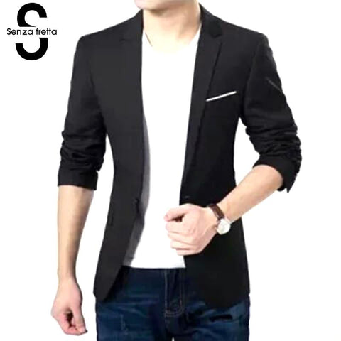 Senza Fretta Men Blazer Fashion Cotton Suit Blazer Slim Fit Masculine Blazer Casual Solid Suit Male Suits Jacket 2017 MC016