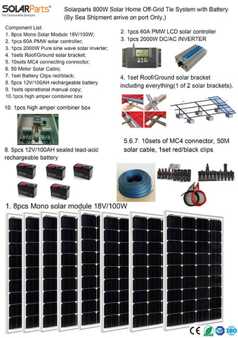 Boguang Solarparts 1x 600W Solar Home off-grid tie systems sea shipment 8pcs 100W mono solar modules bracket DIY kits panel bat