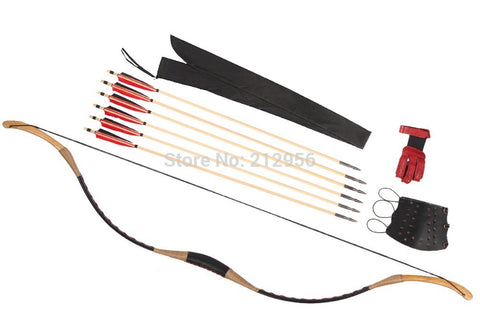 Combination Set Horsebow Traditional Archery Cow Leather Longbow Recurve Bow 6 Wood Arrows 20-60LBS C4QSC