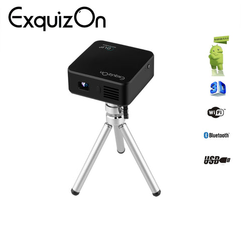 Exquizon E05 DLP Projector 120 ANSI Lumens Support Airplay Miracast for IOS & Android 1G+8G AC3 Bluetooth WIFI Mini Proyector