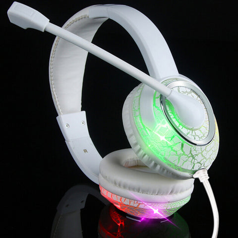 Professional Video Gamer Headphone LED Luminous Ear Cushion Headband Game Headphones Computer Headset with Microhone White