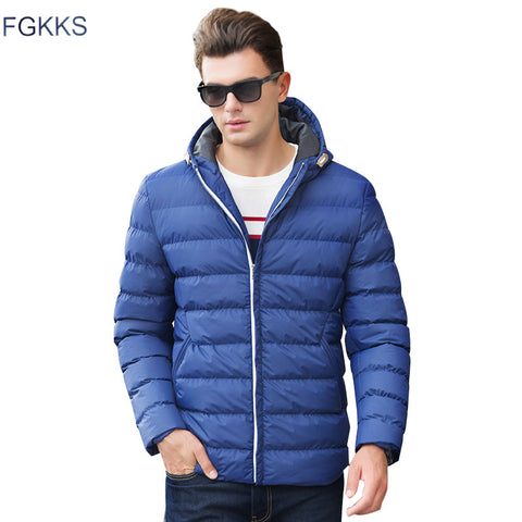 FGKKS New Men Winter Jacket Fashion Hooded Thermal Down Cotton Parkas Male Casual Hoodies Brand Clothing Warm Coat