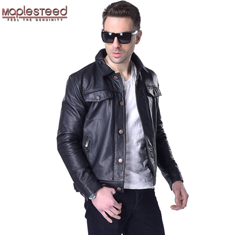 MAPLESTEED Leather Jacket Men Genuine Cowhide Calf Skin Brand Fashion Black Thick Bomber Motorcycle Biker Men's Winter Coat 163