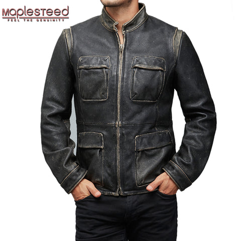 MAPLESTEED M65 Genuine Leather Jackets Men Vintage Retro Distressed Frayed Cowhide Calf Skin Bomber Motorcycle Winter Coat 159