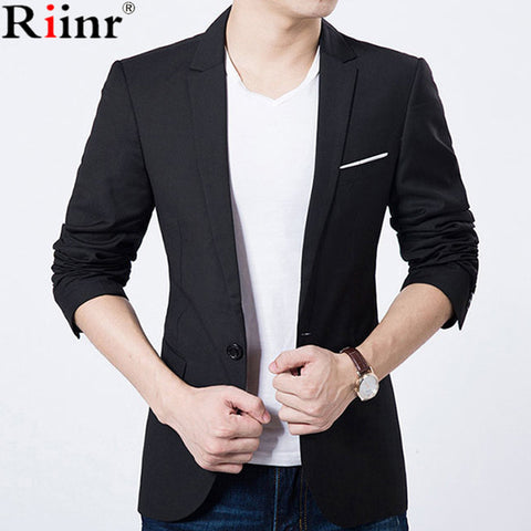 Riinr 2017 Fashion New Arrival Blazer Masculino Autumn&Winter Brand Casual Gentleman Solid Color Single Button Casaco Masculino