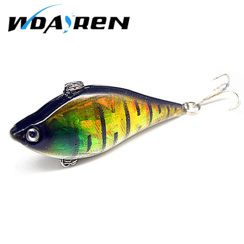 1pcs 6cm 13.1g Winter Fishing Hard Bait VIB with Lead Inside Ice Sea Fishing Tackle Diving Swivel Jig Wobbler Lure FA-271