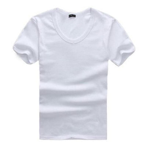 T Shirt Men V Neck Collar Short Sleeve T-shirts Summer Cool Casual Cotton Tee Tops Shirts Clothing Solid For Males D1