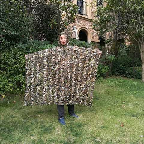 Maple leaf Leafy Poncho style Jungle Ghillie Suits Hunting Camouflage 3D Bionic Leaf Yowie  Mesh for Hunting clothes