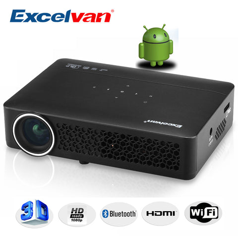 Excelvan DLP800WM DLP Projector Android 4.4 OS 1280*800 Resolution 400Ansi Support 1080p Business Conference Home Theater Beamer