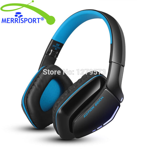 MERRISPORT V4.1 Bluetooth Hifi Bass Stereo Headphones, Wireless Headsets with Built-in Mic for Cell Phone Tablet PC MP4 PS4 Blue
