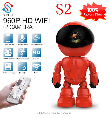 FREE Shipping S2  IP Camera Robot 960P HD WIFI Wireless PTZ Two Way Audio P2P Onvif Night Vision Network Baby Monitor Security Camera