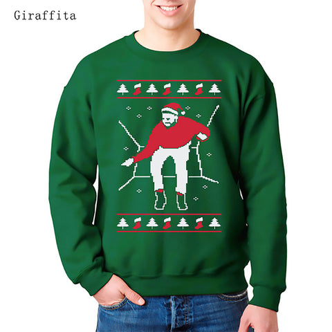 Giraffita Unisex Hoodies Fashion Santa Claus Patterned Clothing Christmas Clothing  For Men Women Pullovers