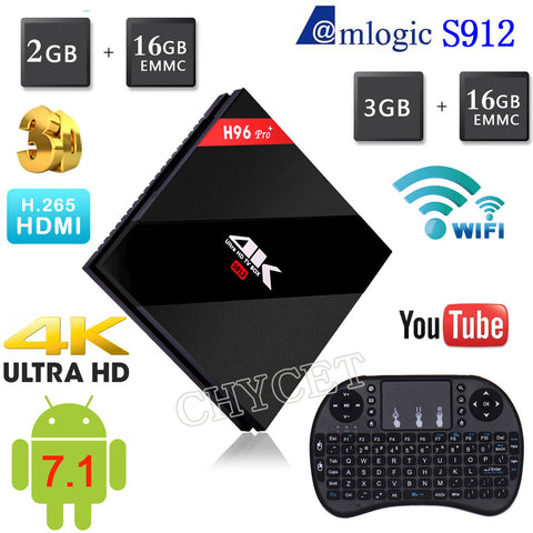 2017 H96 PRO Plus + Amlogic S912 Octa Core Android 7.1 TV Box 2G/16G 3G/16G  HDMI 4 K HDR  BT4.1  2.4G/5.8GHz Wifi Media Player