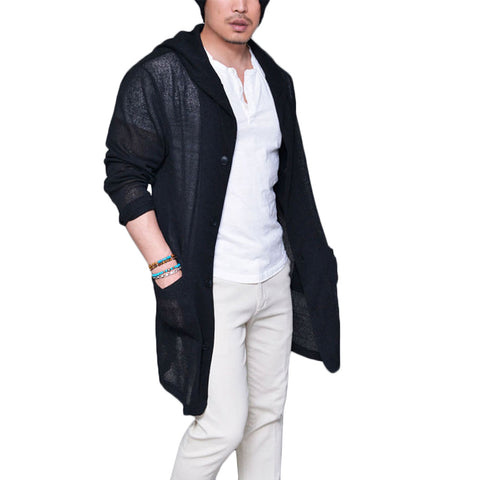 Men's Long Pull Cardigan Long Sleeve Knitting Solid Black Grey Thin Slim With Pockets Outcoat