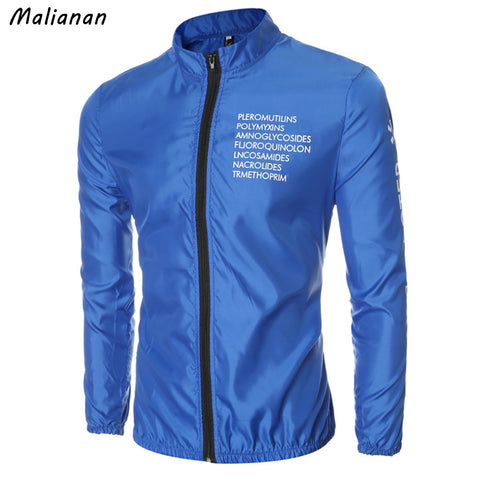 Malianna 2017 New Autumn Men's Fashion Casual Outerwear Stand Collar Letter Print Windbreaker Thin Jackets Coat Plus Size GMS106