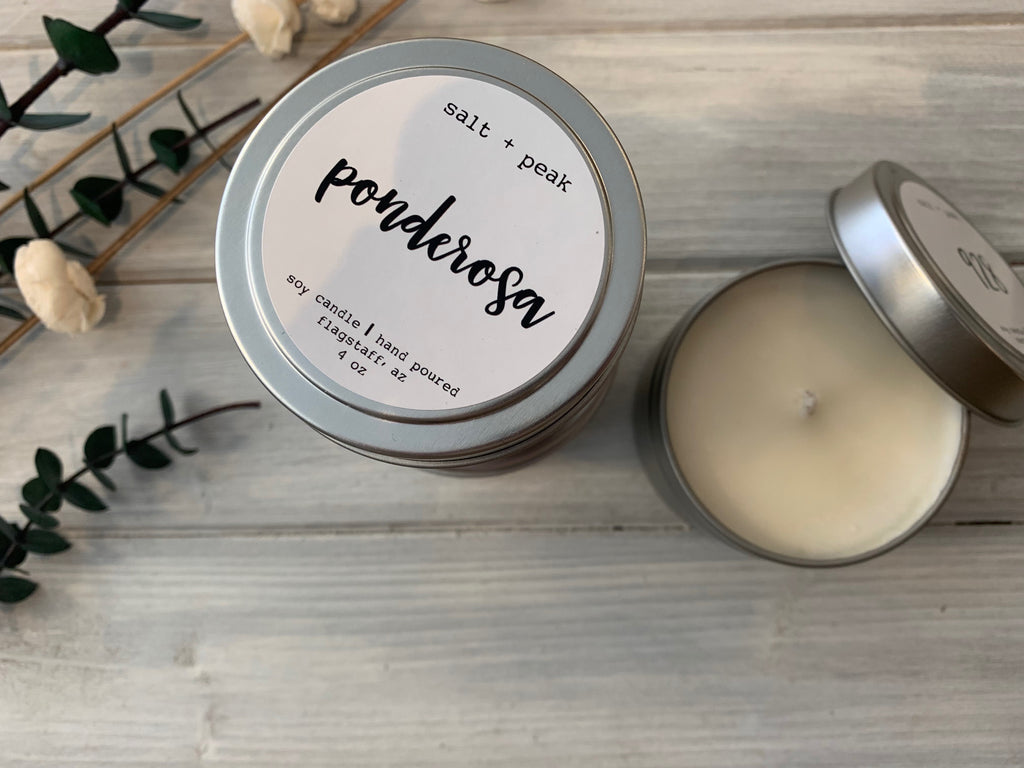 travel tin, candle, soy candle, salt and peak candle