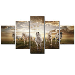 Unframed 5 pcs High Quality Running Horse Pictures