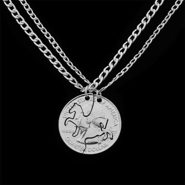 American Coin couples/friends Horse Necklace