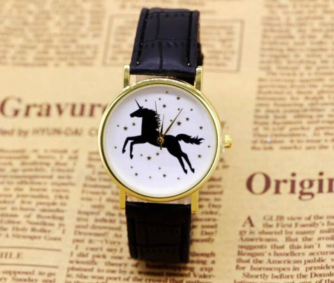 Hot New Black Unicorn Horse And Diamonds Quartz Wristwatch
