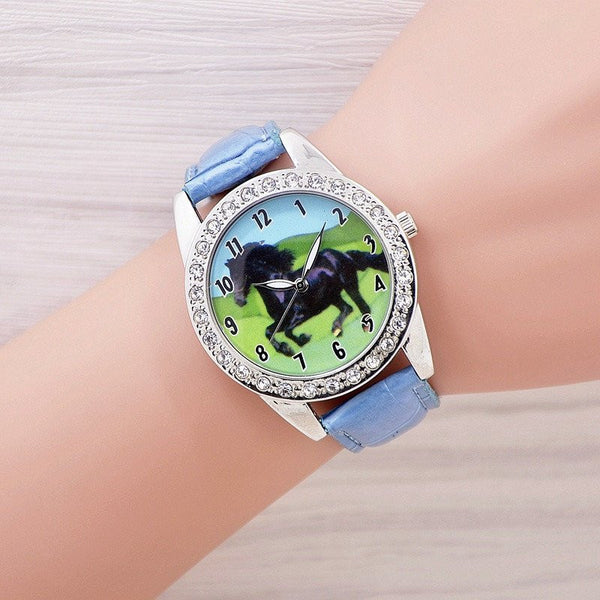 Black Horse Quartz Crystal Diamonds Wristwatch