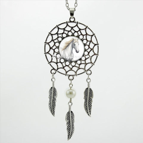 Beautiful Dream Catcher Horse Necklace