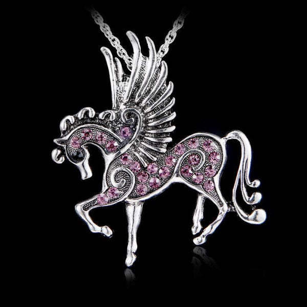 Antique Silver Effect Horse with Wings Necklace