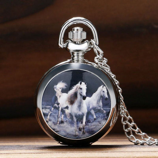 Retro Fashion Running Horse Design Quartz Pocket Watch
