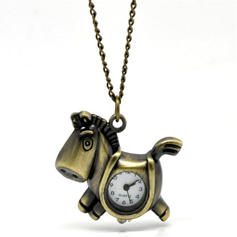 Bronze Tone Necklace Quartz Horse Watch