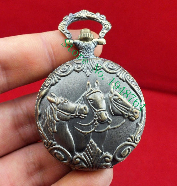 Copper Pocket Watch With Three Horse Heads