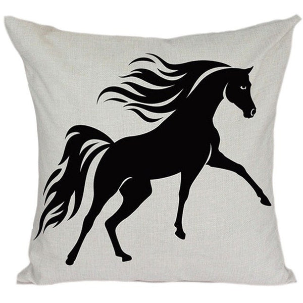 Horse Printed Square Cushion Cover