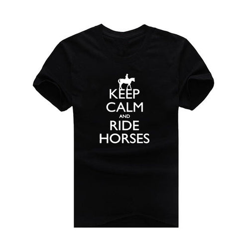 "Fashion ""Keep Calm And Ride Horses""  Short Sleeve Tshirt"