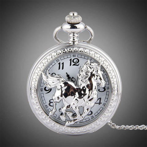 Fashion Silver Horse Flip Cover Quartz Pocket Watch