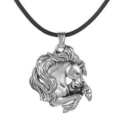 Horses Head With  Leather Cord Necklace
