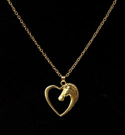 Love Heart Shaped Necklace with Horses Head