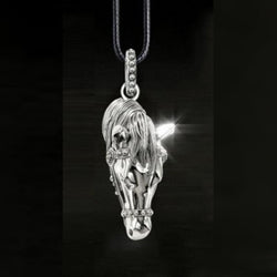 Elegant Horses head on a Leather Rope Necklace