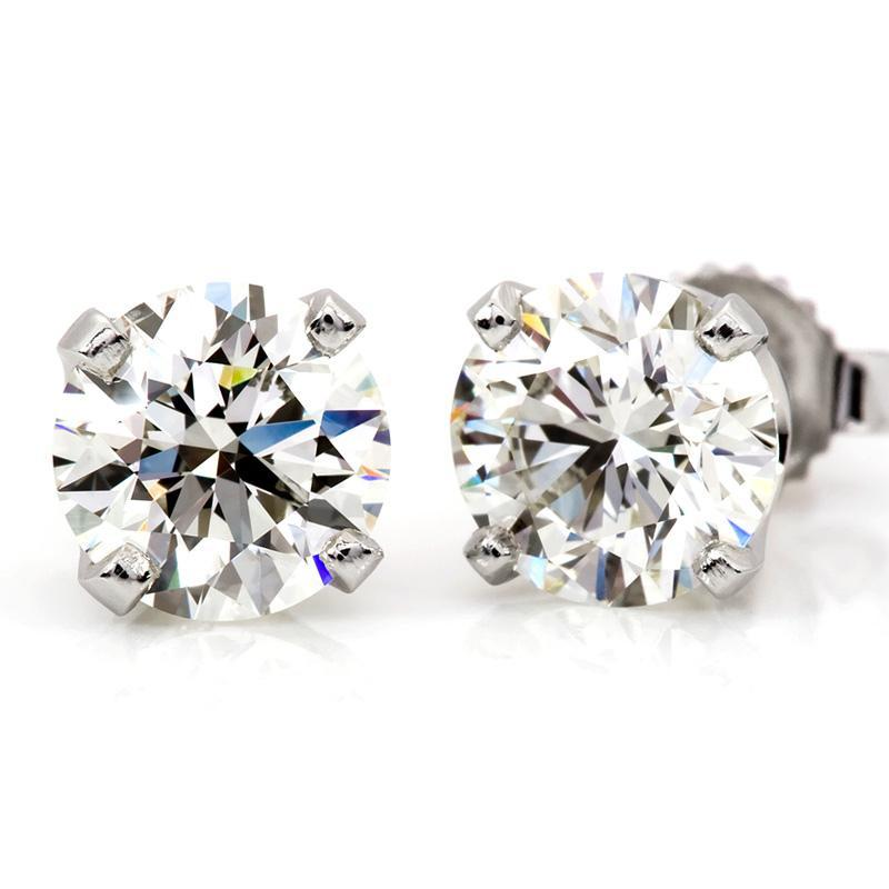 2.00 Carat Round Diamond 4-Prong Stud Earrings in 14K White Gold (H-I;I2/I3)