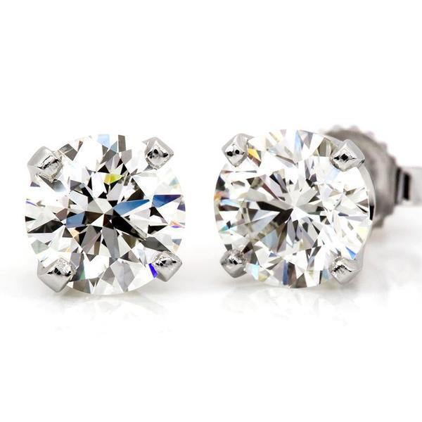 1.25 Carat Diamond Stud Earrings in 14K White Gold (H-I;I2)