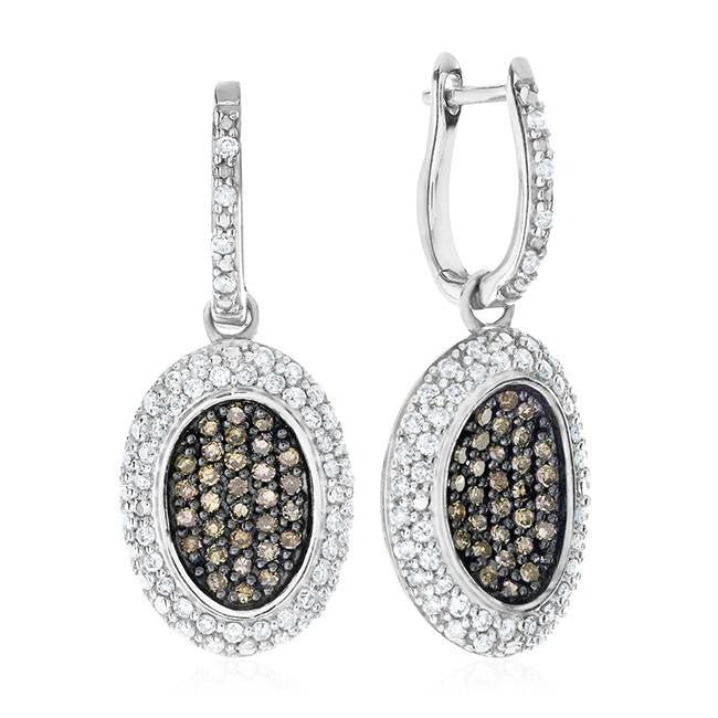 1.05 Carat Champagne & White Diamond Earrings in Sterling Silver