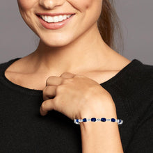 Load image into Gallery viewer, 10.00 Carat Genuine Blue Sapphire & White Topaz Bracelet in Sterling Silver - 7""