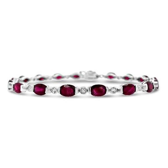 10.55 Carat Genuine Ruby & White Topaz Bracelet in Sterling Silver - 7.5""