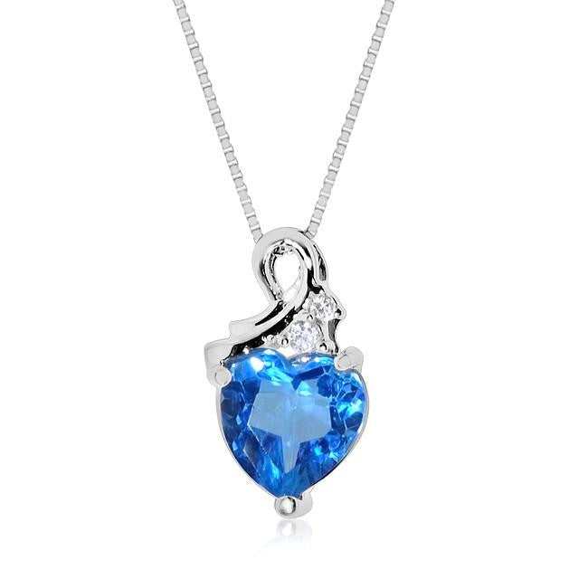3.25 Carat tw Blue Topaz & White Sapphire Heart Pendant in Sterling Silver w/ Box Chain